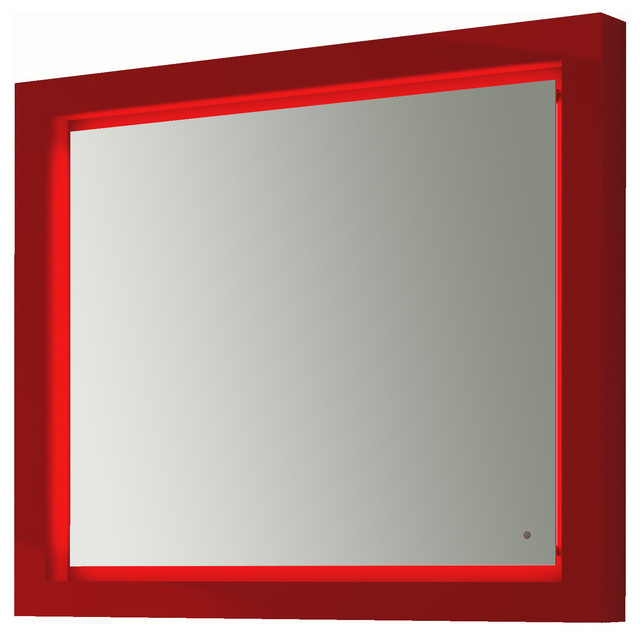 Due LED Bathroom Mirror 391 4 One Touch Switch Red Modern