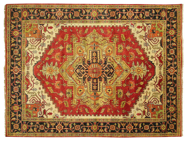 New Traditional Hand Knotted Heriz Serapi 9x12 Red Oriental Wool Area Rug H3536