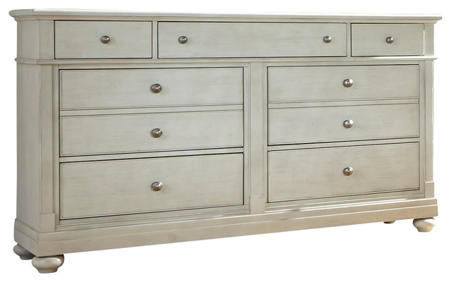 7 Drawer Dresser And Rope Mirror Solid Wood Construction Dove Gray