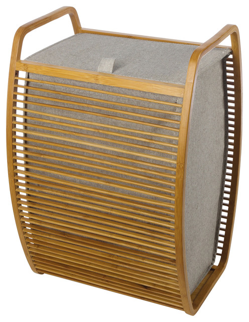 Mv Bamboo With Canvas Gray Hamper Laundry Basket With Carry Handles And Lid.