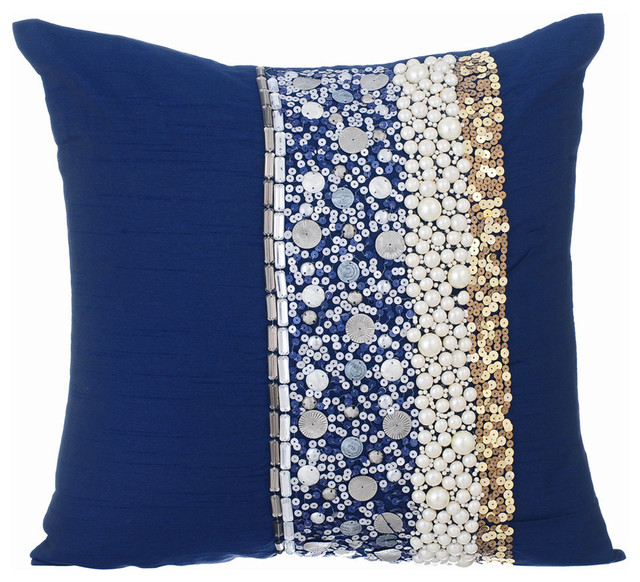 Sequins 16 X16 Silk Navy Blue Pillows Cover Ornamental Glory Contemporary Decorative By The Homecentric