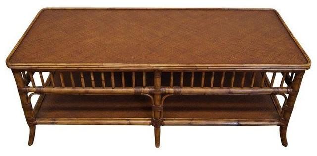 Genial Ethan Allen Rattan Bamboo Coffee Table