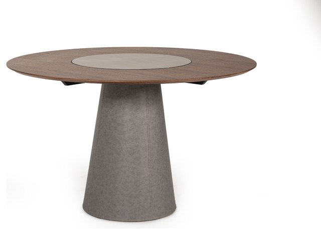 Modrest Alanna Modern Round Walnut Dining Table With Lazy Susan