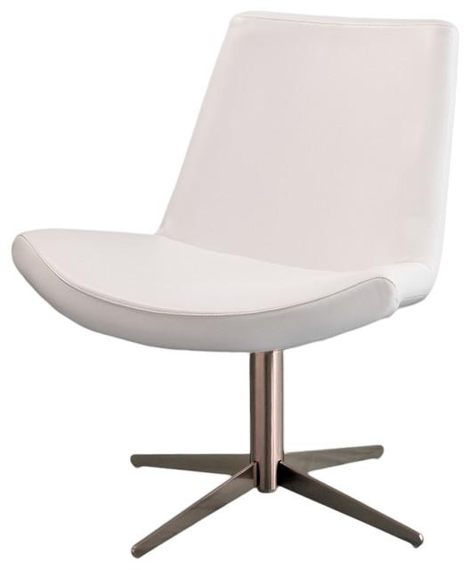 Modo modern design white leather swivel accent chair for Modern swivel accent chair