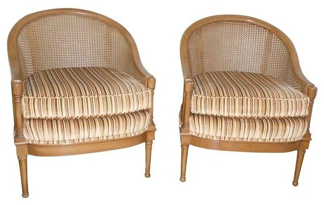 Rockwell Mid Century Modern Accent Chair: Chairish Used Mid-Century Cane Back Barrel Chairs