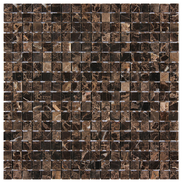 12 X12 Dark Emperador Square Polished Marble Mosaic Traditional Tile
