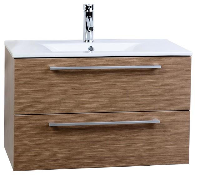 "Conceptbaths Caen 32"" Wall-Mount Modern Bathroom Vanity Light Oak."