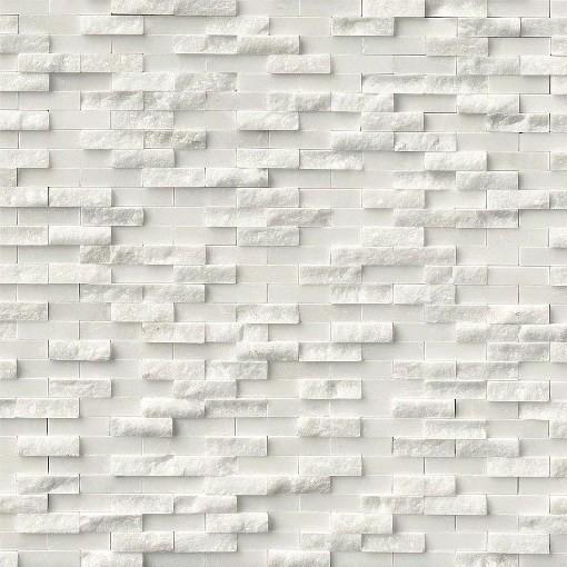 Split Face Arabescato Carrara Marble Tile, Sample.