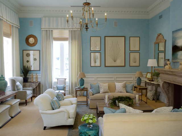 Turquoise & Beige Living Room - Traditional