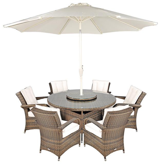 Arizona Ultra Stylish Rattan 6-Seat Round Dining Set, 135cm
