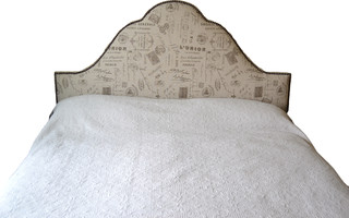 Blue Chair Upholstery French Script Headboard With Nail ...