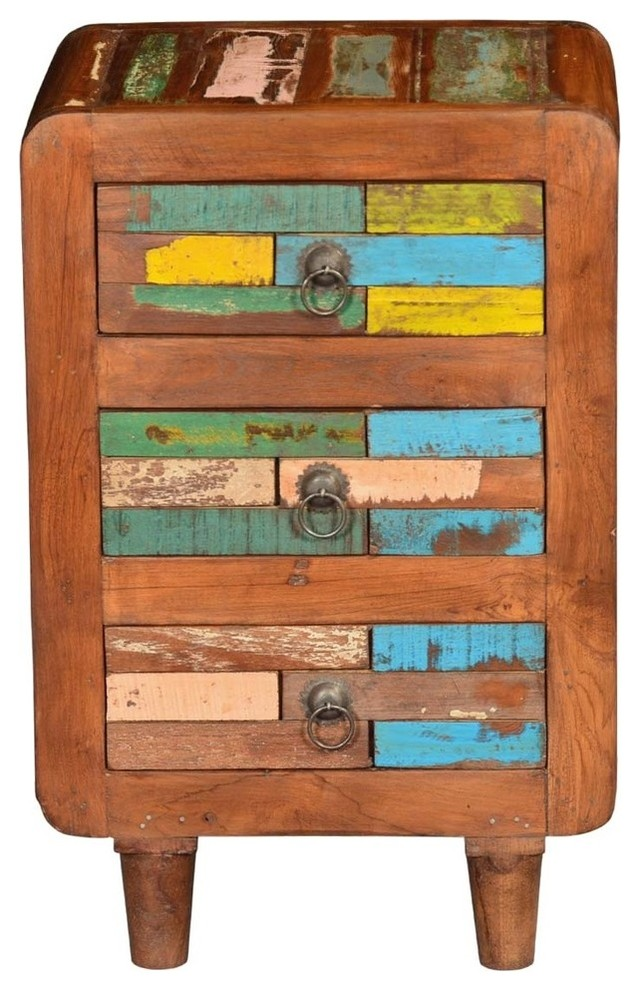 Rustic Wood Bedside Table: Rustic Reclaimed Wood Multi Colored Bedside End Table With