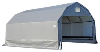 12'x28'x11' Barn Style Shelter, Gray