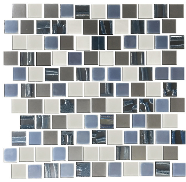 Blue silver and gray recycled glass tile contemporain for Carrelage sol contemporain