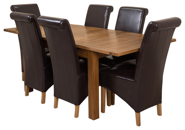 Cotswold Oak Extending Dining Table, 6 Montana Chairs, Brown Leather