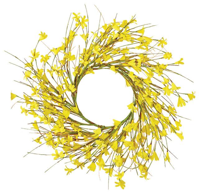 """Forsythia Wreath, 16""""."""