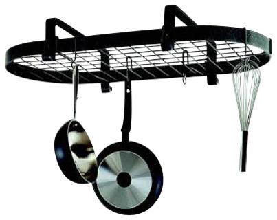 Premier Low Ceiling Oval Pot Rack W, Grid, Hammered Steel