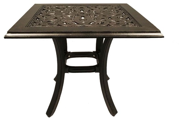 "Patio End Table Square 24"" Outdoor Cast Aluminum Accent"
