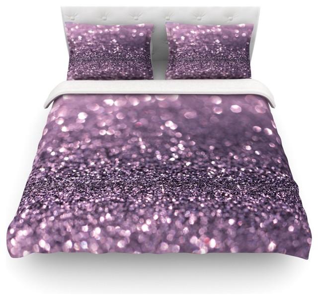 Debbra Obertanec Lavender Sparkle Glitter Duvet Cover Purple Twin