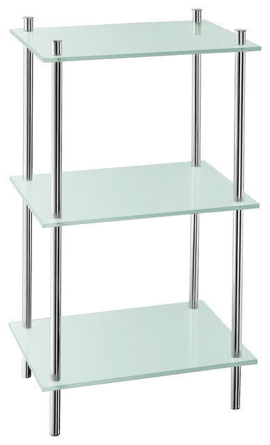 Smedbo 3 Shelves Free Standing Polished Chrome Contemporary Bathroom Cabinets And