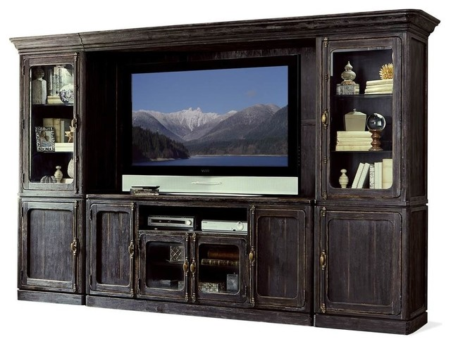 Entertainment Centre, Weathered Worn Black Finish - Rustic - Entertainment Centers And Tv Stands ...