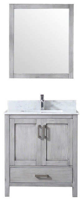 30 Single Vanity With Carrera Marble Top, Sink And 28 Mirror, Distressed Gray.