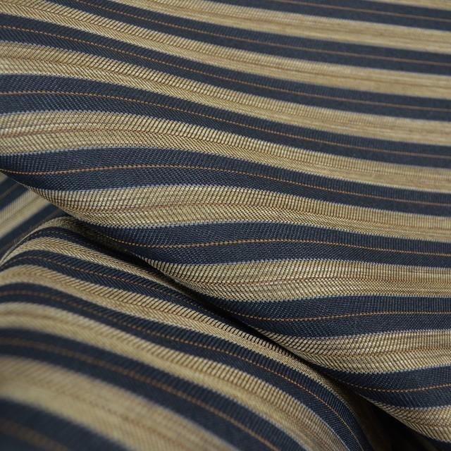 Black gold brown horizontal stripe upholstery fabric