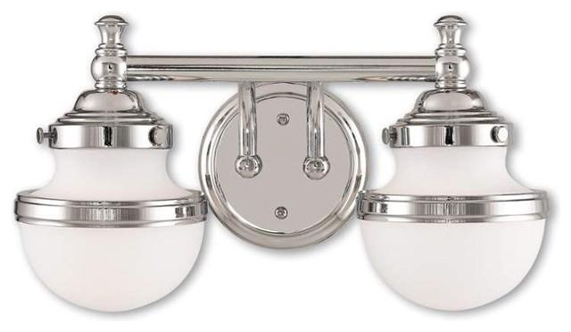Avalon Polished Chrome Bathroom Vanity Ceiling Lights: Oldwick Two Light Bath Vanity Polished Chrome Satin Opal