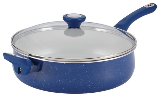 Farberware Speckled Aluminum Nonstick 5-Quart Jumbo Cooker, Blue.