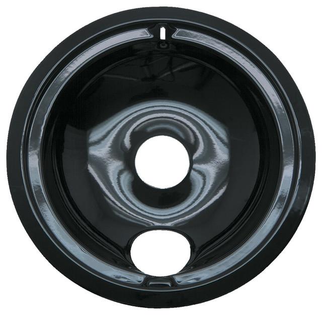 "Range Kleen 6"" Black Porcelain Drip Pan Style B."