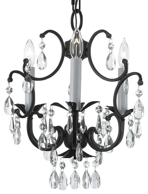 Wrought Iron Crystal Chandelier Country French 3 Light Ceiling