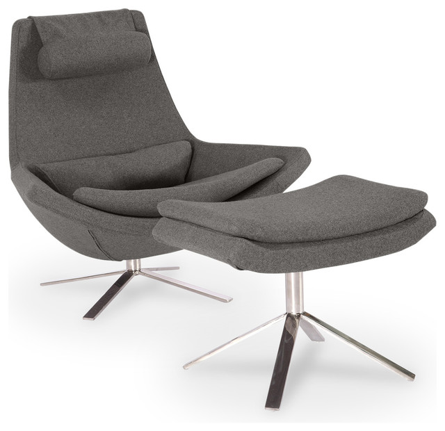 Retropolitan Cashmere Lounge Chair And Ottoman, 2 Piece Set, Cadet Gray