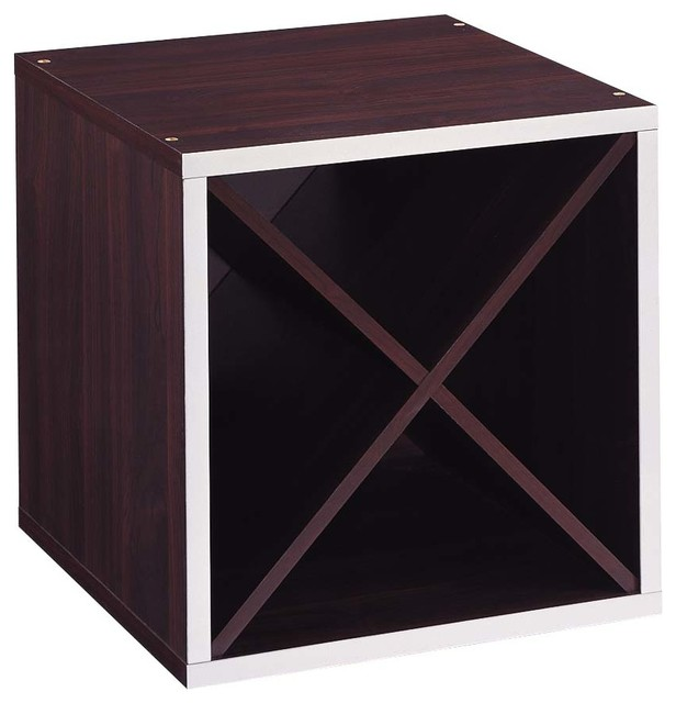 Quadrant &x27;x&x27; Section Storage Cube, Espresso With Silver Trim.
