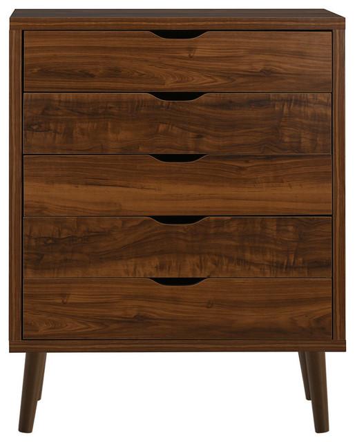 Mid Century Wooden 5 Drawer Chest Brown