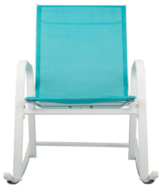 Patio Rocking Chair, White/light Blue.