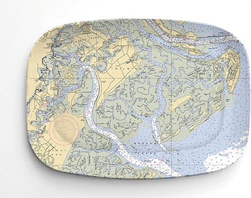 Savannah Nautical Chart Melamine Platter 1 by savannahjacks