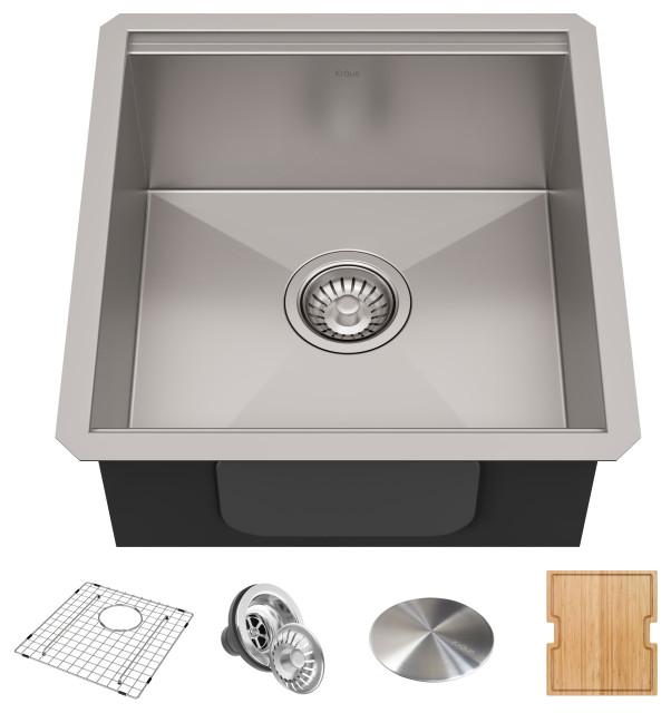 """Kraus Workstation 17"""" Undermount Kitchen Sink Accessories, 5-Piece Set"""