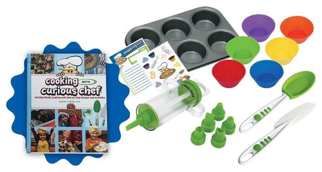 Cooking With Curious Chef Cookbook Cupcake, Decorating Kit Bundle, 16-Piece Set.