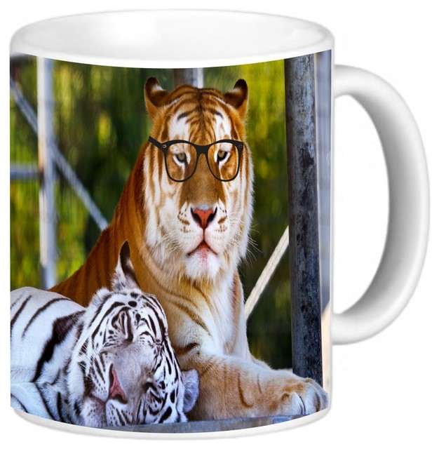Hipster Bengal Tigers Resting With Glasses Coffee Mug