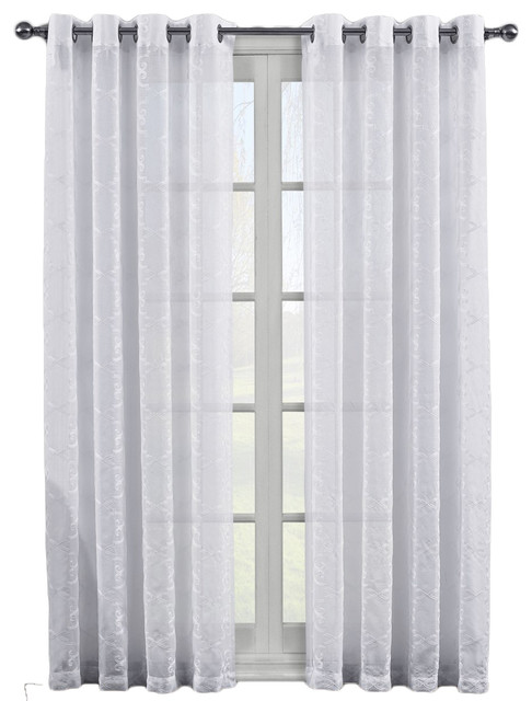 "Melanie Grommet Embroidery Sheer Panels Pair, White, 108""x96"""