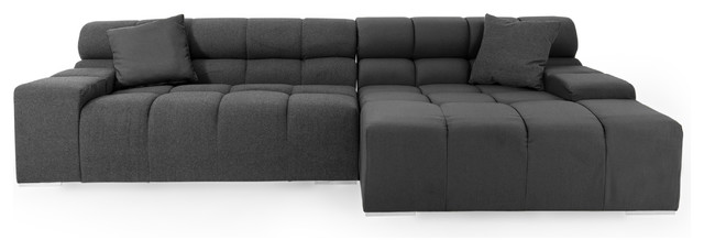 Cubix Modular Cashmere Sofa Sectional, Charcoal, Right Facing.
