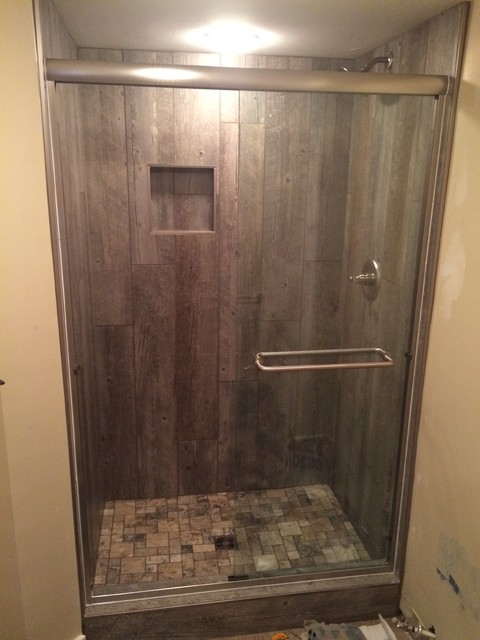 Barn Wood-Look Tile Shower rustic-bathroom