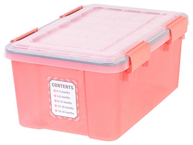 19 Quart Weather Tight Baby Storage Box, 6 Pack, Pink Contemporary Storage