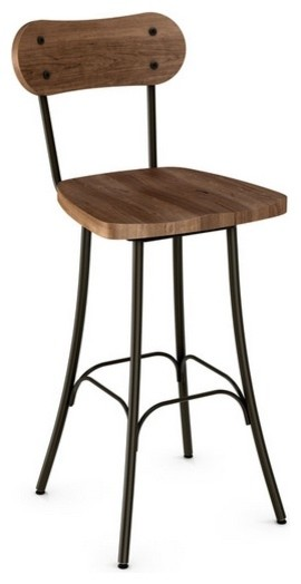 Rustic Swivel Stool With Wood Seat And Backrest Counter Height