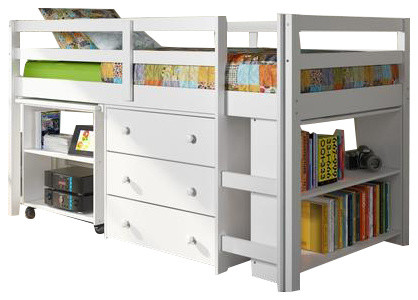 Kids Furniture Loft Bed With Desk, Dresser And Bookcase, Twin.