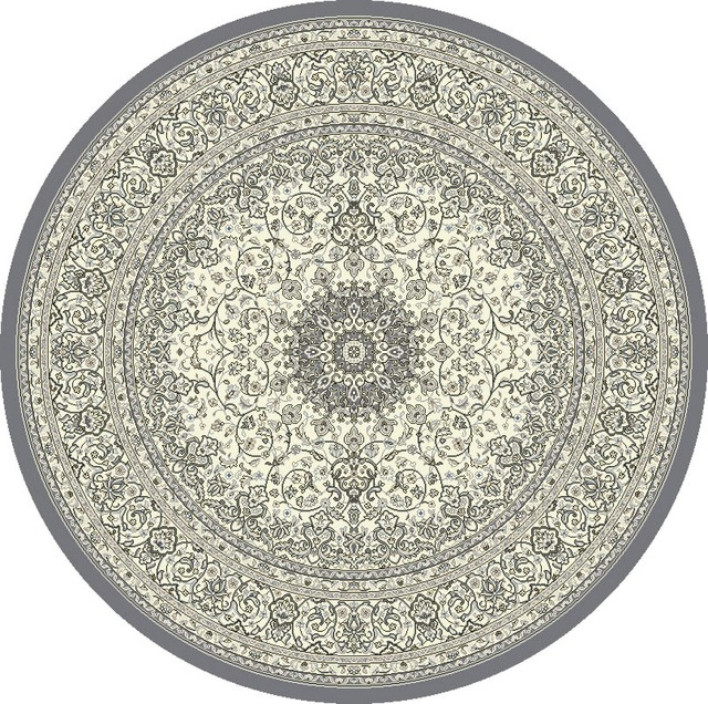 Dynamic Rugs Grey Cream Round Designer Line Area Rug