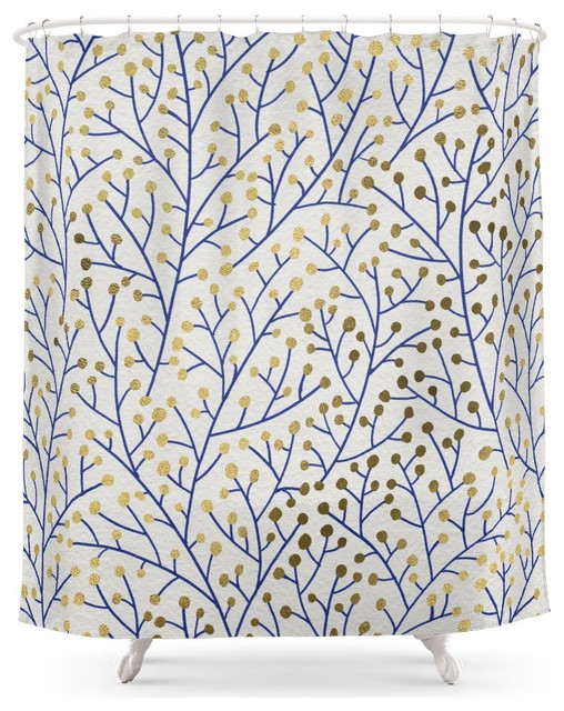 Society6 Berry Branches Navy And Gold Shower Curtain Contemporary Shower