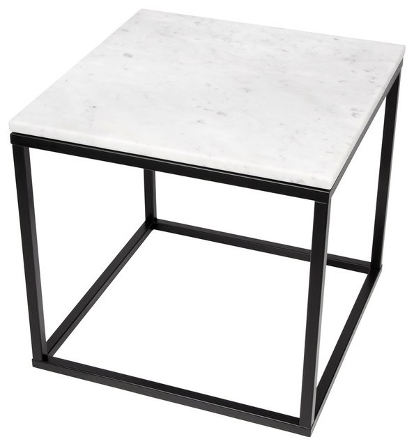 Prairie 20 X20 End Table With Marble Top Contemporary Side Tables And End Tables By Temahome