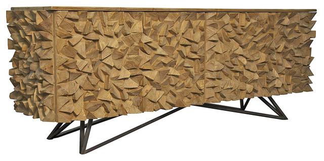 Mersin Modern Rustic Reclaimed Chunky Wood Metal Sideboard Buffet