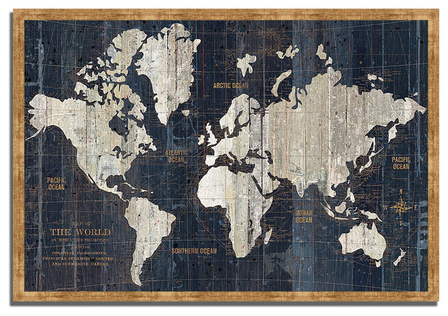 """""""old World Map Blue"""" By Wild Apple Portfolio, Framed Painting Print."""